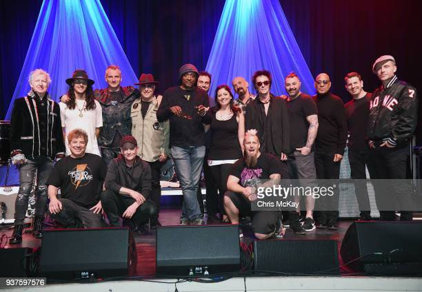 Band and crew pose for an end of tour photo prior to the Celebrating David Bowie concert at Buckhead Theatre on March 18 2018 in Atlanta Georgia