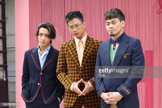 Band EggPlantEgg attend an art exhibition opening event on October 20, 2021 in Taipei, Taiwan of China.