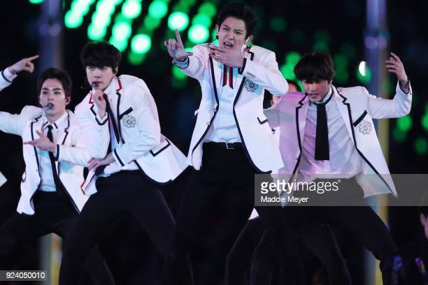 Band EXO perform during the Closing Ceremony of the PyeongChang 2018 Winter Olympic Games at PyeongChang Olympic Stadium on February 25 2018 in...