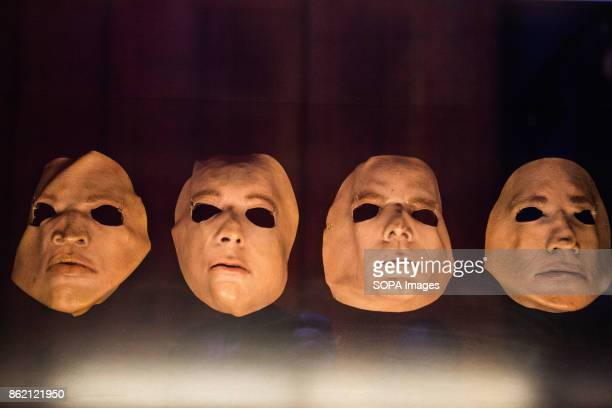 Band face masks from 'The Wall Live' issued in 1979 are seen during the Pink Floyd exhibition The Pink Floyd exhibition were holds in London at...