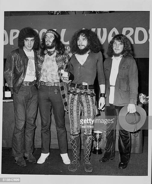 Band 'Jethro Tull' holding their award for 'best group' at the Melody Maker Pop Poll Awards Waldorf Hotel London September 17th 1969