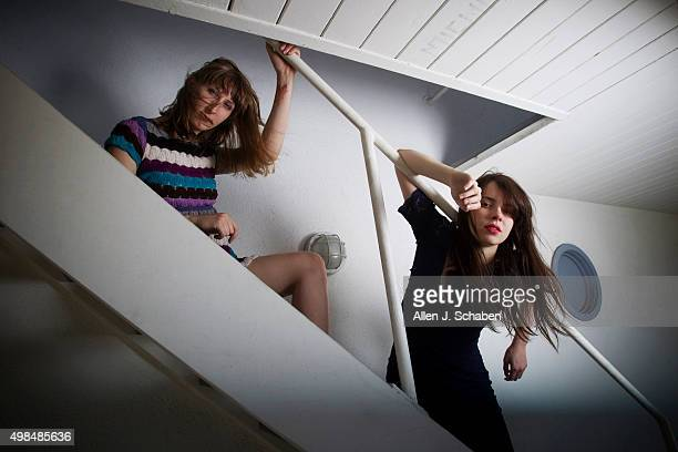 Band Le Butcherettes members Lia Braswell and Teresa Suarez are photographed for Los Angeles Times on April 30 2014 in Los Angeles California...