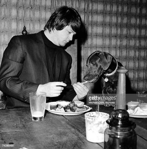 Band leader Brian Wilson of the rock and roll band The Beach Boys chomps variously down on a record a shoe other people's food a pepper grinder and...