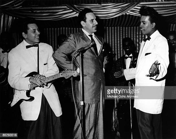 Band leader Johnny Otis performs onstage flanked by vocal duo Don Dewey in circa 1957