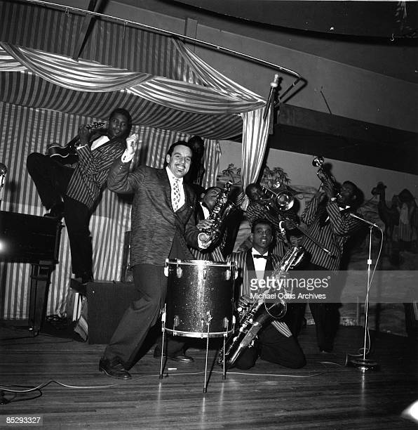 Band leader Johnny Otis performs onstage with his band in circa 1957