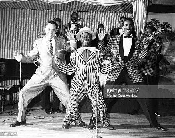 Band leader Johnny Otis performs onstage with Little Arthur Matthews and trumpet player Don Johnson in circa 1957