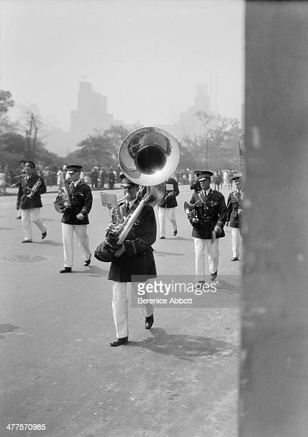 A band marching in the Memorial Day Parade on Central Park West New York City New York circa 1930