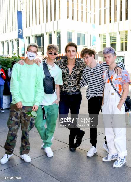 Band mates Zach Herron Daniel Seavey Jack Avery Corbyn Besson and Jonah Marais of the group 'Why Don't We' are seen on September 25 2019 in New York...