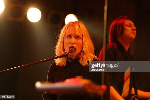 Band member and song writer Annette Humpe of the German pop band Ich Ich performs in the Kesselhaus February 6 2006 in Berlin Germany The concert was...