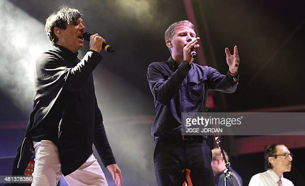 FFS band members Alex Kapranos of Scottish indie rock band Franz Ferdinand and Russell Mael of US poprock band Sparks perform during the last day of...