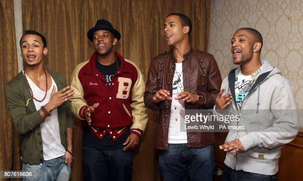 JLS band members Aston Merrygold Oritse Williams Marvin Humes and Jonathan Benton sing for Emily Bailey who has acute Myeloid leukaemia and met the...