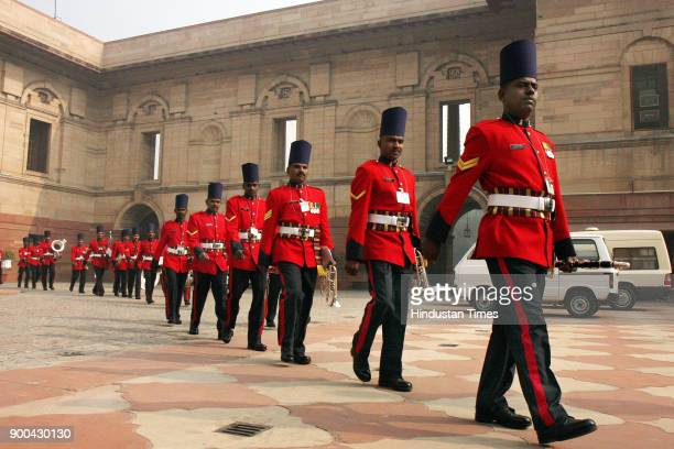 Band members come out after the oath taking ceremony of new Comptroller and Auditor General Vinod Rai at Rashtrapati Bhavan in New Delhi on Monday