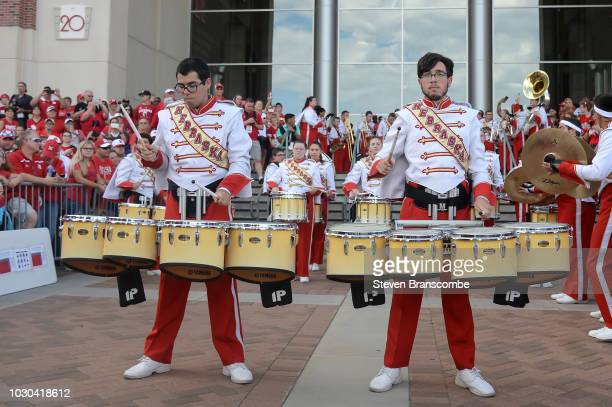 Band members for the Nebraska Cornhuskers perform before the team arrives for the game against the Akron Zips at Memorial Stadium on September 1 2018...