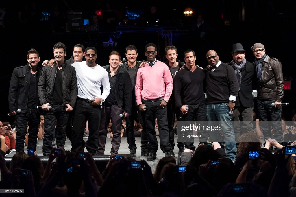 Band members from New Kids on the Block, 98 Degrees, and Boyz II Men (L-R) Jeff Timmons, Jordan Knight, Jonathan Knight, Nathan Morris, Drew Lachey, Nick Lachey, Shawn Stockman, Joey McIntyre, Danny Wood, Wanya Morris, Justin Jeffre, and Donnie Wahlberg attend the Package Tour Special Announcement at Irving Plaza on January 22, 2013 in New York City.