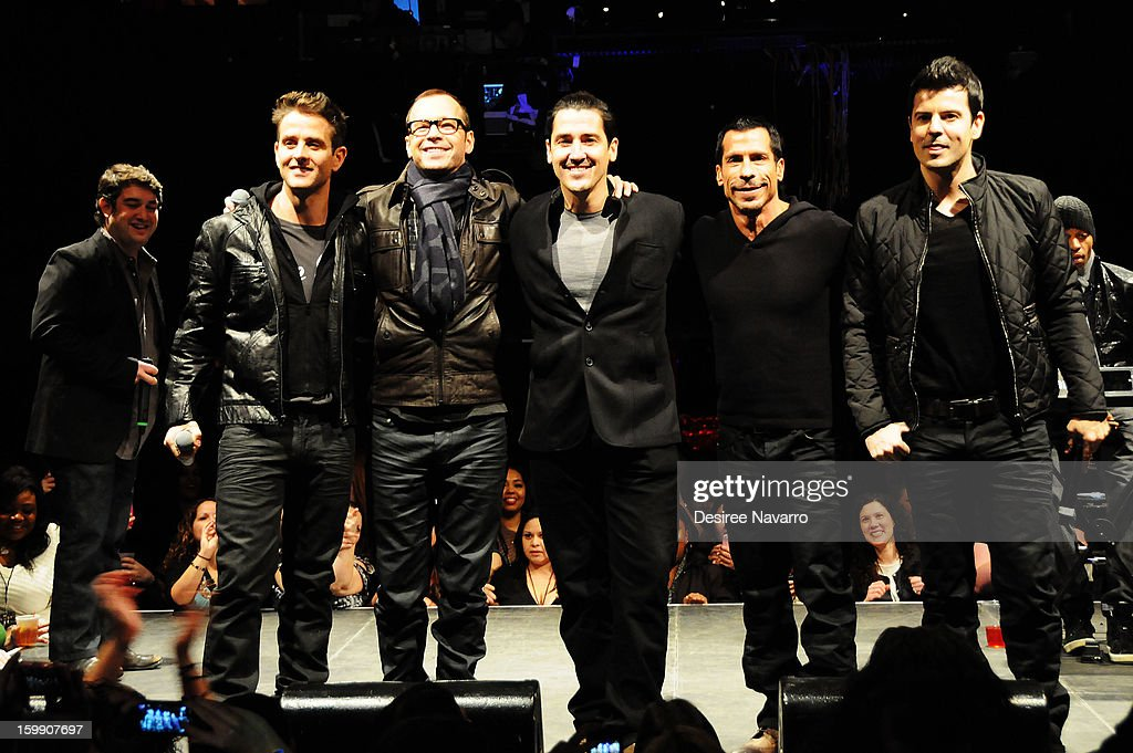 Band members from The New Kids On The Block (L-R) Joey McIntyre, Donnie Wahlberg, Jonathan Knight, Danny Wood and Jordan Knight attend the New Kids On The Block Special Announcement at Irving Plaza on January 22, 2013 in New York City.
