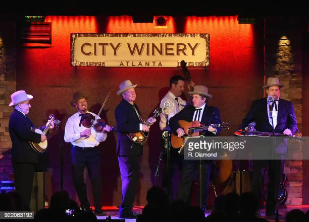 Band members Johnny Warren Charlie Cushman Jeff White Shawn Camp Barry Bales and Jerry Douglas of Earls of Leicester perform at City Winery on...