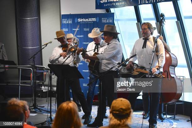Band members Johnny Warren Jeff White Shawn Camp and Jerry Douglas of Earls of Leicester perform on stage at SiriusXM Studios on September 13 2018 in...