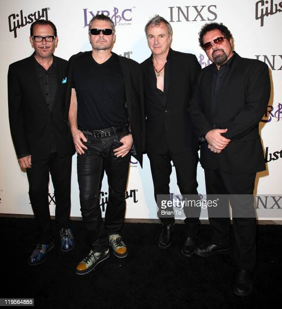 INXS band members Kirk Pengilly Jon Farriss Garry Gary Beers and Andrew Farriss attend Lyric Culture presents 'Electro Sexual' collection with INXS...