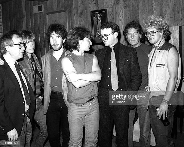 U2 band members Larry Mullen Jr The Edge Bono band manager Paul McGuinness Island Records Founder Chris Blackwell and Adam Clayton