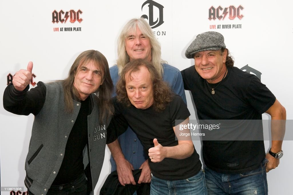 AC/DC band members Malcolm Young, Cliff Williams, Angus Young and Brian Johnson attend the Exclusive World Premiere Of AC/DC 'Live At River Plate' Presented By DeLeon Tequila at the HMV Apolo on May 6, 2011 in London, England.
