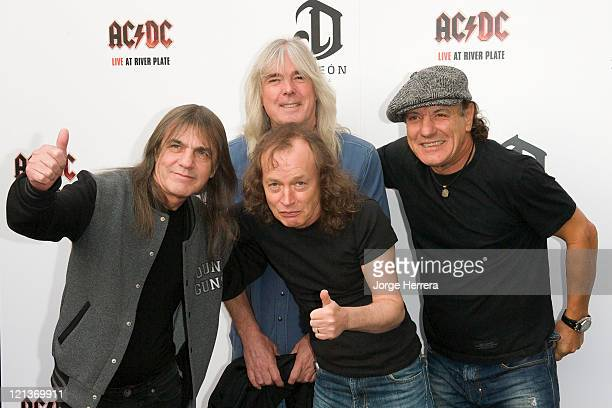 AC/DC band members Malcolm Young Cliff Williams Angus Young and Brian Johnson attend the Exclusive World Premiere Of AC/DC Live At River Plate...