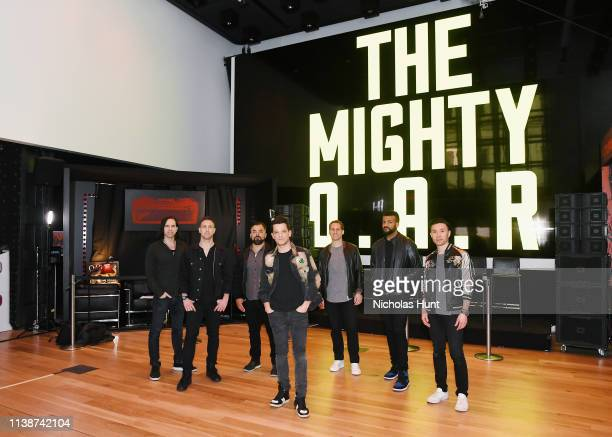 R band members Mikel Paris Jerry DePizzo Benj Gershman Marc Roberge Chris Culos Jon Lampley and Richard On attend the album release party for The...