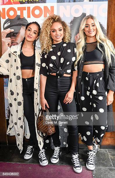 Band members MO Annie Ashcroft Frankee RoseNadine Samuels attend the Notion Magazine issue 73 launch party at The Cuckoo Club on July 7 2016 in...