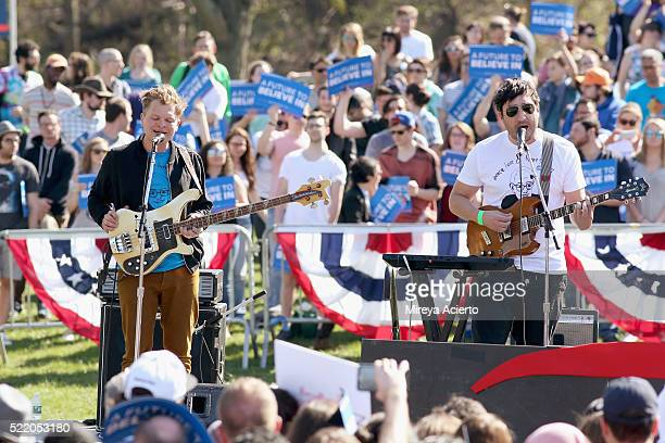 Band members of Grizzly Bear Chris Taylor and Ed Droste perform during 'A Future To Believe In' GOTV rally concert at Prospect Park on April 17 2016...