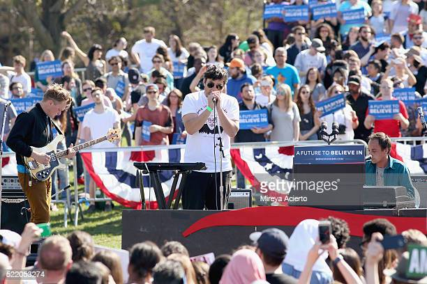 Band members of Grizzly Bear Chris Taylor Ed Droste and Daniel Rossen perform during 'A Future To Believe In' GOTV rally concert at Prospect Park on...