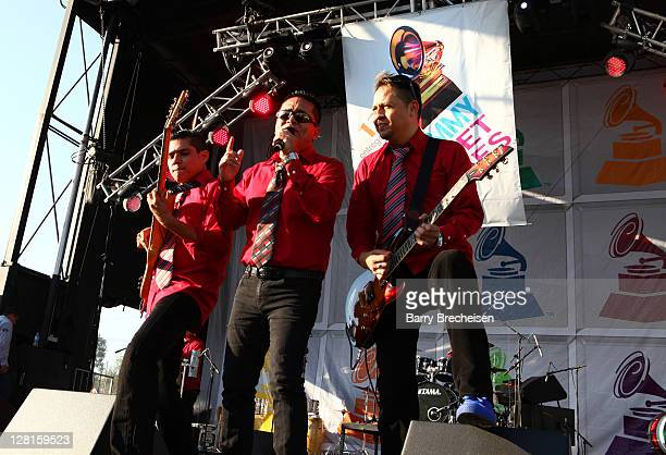 Band members of Grupo Mojado at the Latin GRAMMY Street Parties at Plaza Garibaldi on October 2 2011 in Chicago Illinois