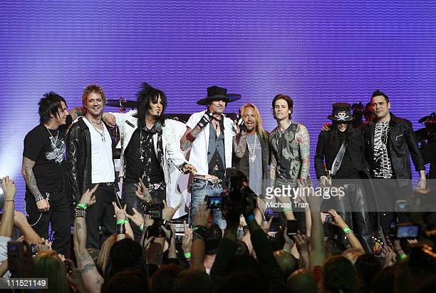 Band members of Motley Crue Trapt Papa Roach Buckcherry and SixxAM perform at the press conference announcing Crue Fest 2008 The Summer's Loudest...