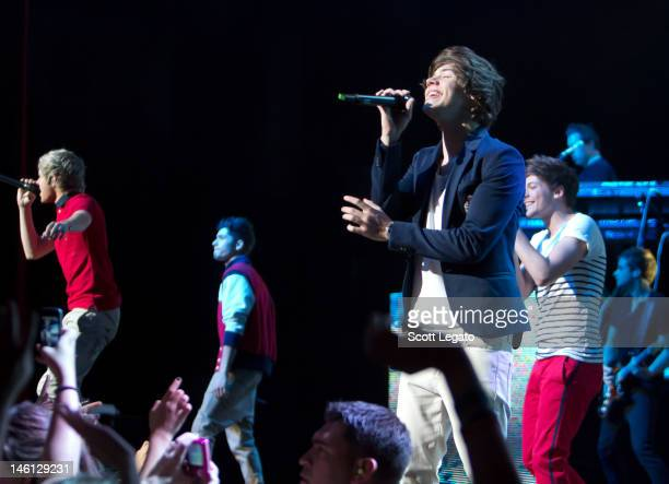 Band members of One Direction performs at Fox Theatre on June 1 2012 in Detroit Michigan