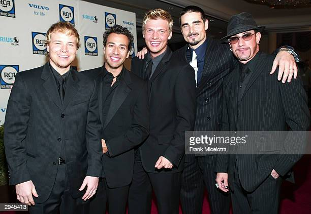 Band members of the Back Street Boys attend Clive Davis' legendary PreGrammy party at the Beverly Hills Hotel on February 7 2004 in Beverly Hills...