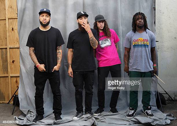 Band members of Trash Talk pose for a portrait backstage during day 1 of the AFROPUNK festival at Commodore Barry Park on August 23 2014 in Brooklyn...