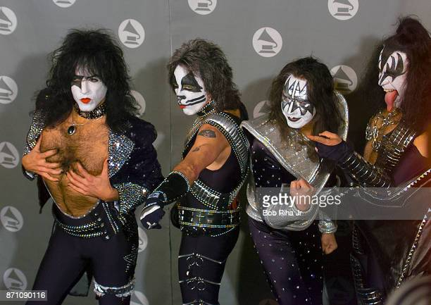 KISS band members Paul Stanley Eric Singer Tommy Thayer and Gene Simmons backstage at the 42nd Annual Grammy Awards Show on February 23 2000 in Los...