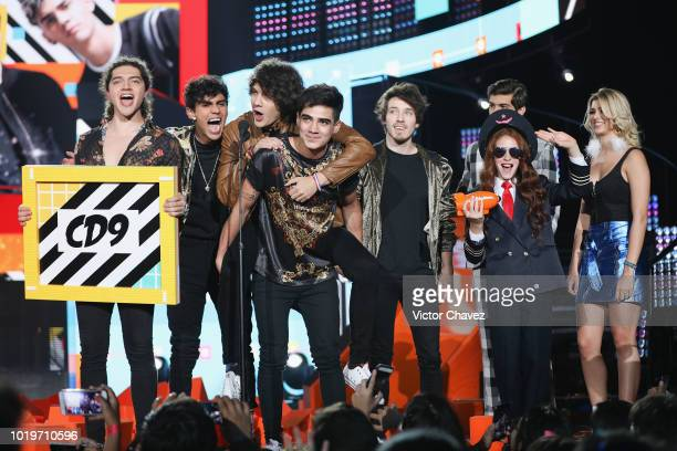 CD9 band members speak on stage during the Nickelodeon Kids' Choice Awards Mexico 2018 at Auditorio Nacional on August 19 2018 in Mexico City Mexico