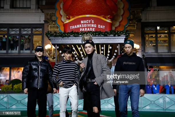 Band NCT 127 performs during the 93rd Annual Macy's Thanksgiving Day Parade rehearsals at Macy's Herald Square on November 26 2019 in New York City