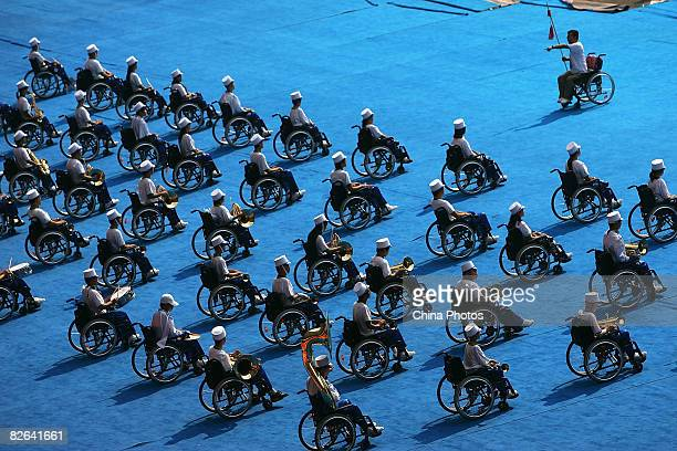 A band of disabled performers rehearse for the opening ceremony of the Beijing 2008 Paralympic Games in the National Stadium on September 3 2008 in...
