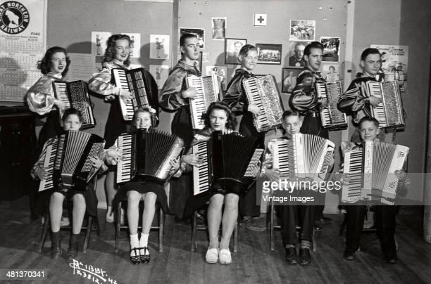 A band of teenaged accordionists USA 1942
