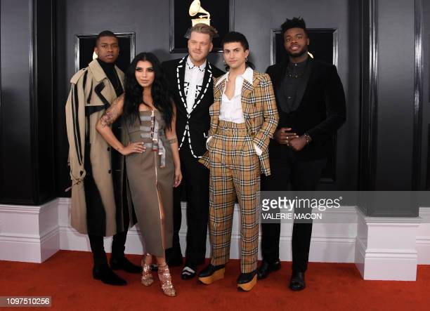 Band Pentatonix arrives for the 61st Annual Grammy Awards on February 10 in Los Angeles