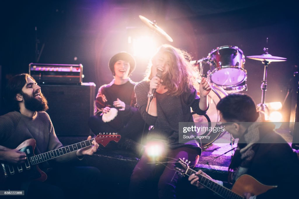 Band performing at a nightclub : Stock Photo