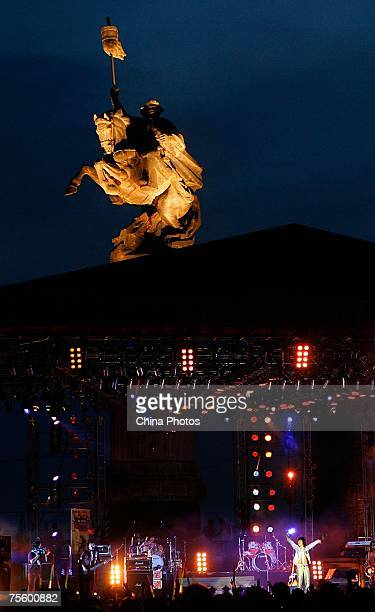 A band performs at the first 'Green Flag Erdos Grassland Rock Music Festival' near the Mausoleum of Genghis Khan on July 20 2007 in Erdos of Inner...
