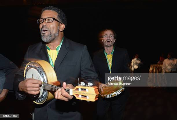 A band performs during the 2012 Person of the Year honoring Caetano Veloso at the MGM Grand Garden Arena on November 14 2012 in Las Vegas Nevada