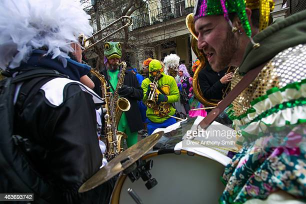 A band performs in the Faubourg Marigny neighborhood during Mardi Gras February 17 2015 in New Orleans Louisiana Mardi Gras or Fat Tuesday is a...