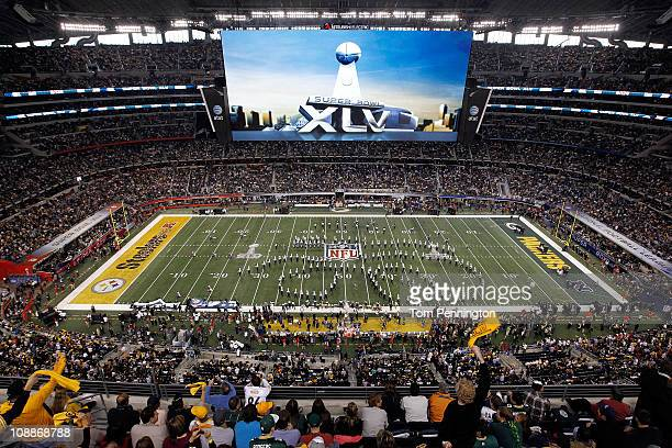 Band performs prior to Super Bowl XLV at Cowboys Stadium on February 6, 2011 in Arlington, Texas.