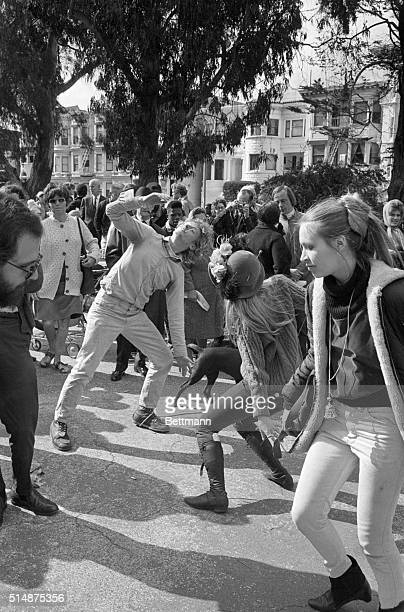 A band played as hippies rocked to the music after a meeting in the HaightAshbury district of San Francisco California | Location HaightAshbury...