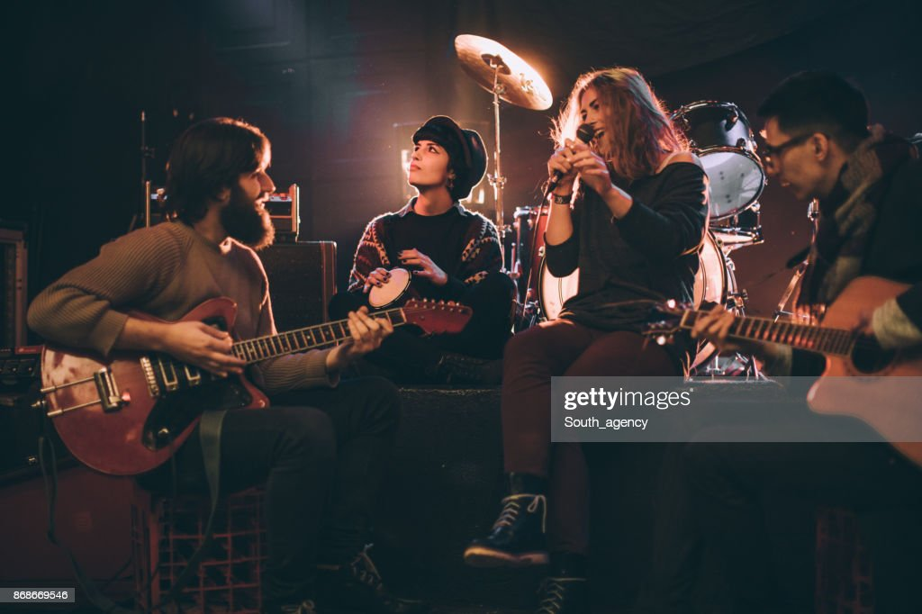 Band playing in the club : Stock Photo