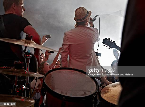 band playing together onstage - newquay stock pictures, royalty-free photos & images