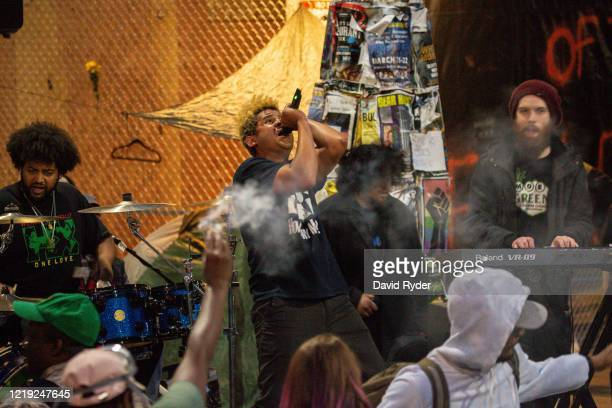 A band plays a free show in front of the Seattle Police Departments East Precinct in the socalled Capitol Hill Autonomous Zone on June 10 2020 in...