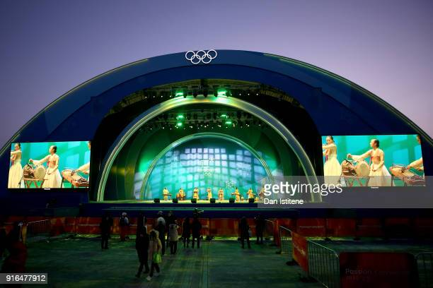 A band plays before the Medal Ceremony for the CrossCountry Skiing Ladies' 75km 75km Skiathlon on day one of the PyeongChang 2018 Winter Olympic...
